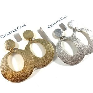 Charter Club Hammered Teardrop Clip-On Earrings